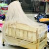Wooden Cot Baby Cradle with Mosquito Net