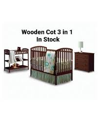 3 in 1 Wooden Cot, Wooden Draws & Wooden Clothes Rack